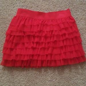 Girls red ruffle skirt
